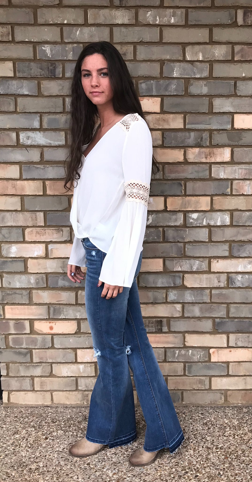 White Bell-Sleeve With Crochet Detail