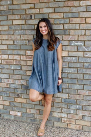 The Chambray Babydoll Dress with Detailed Stitching