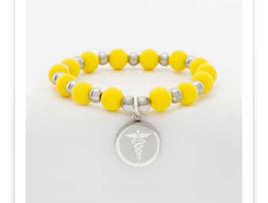 Rustic Cuff Medical Erin- Yellow with Silver