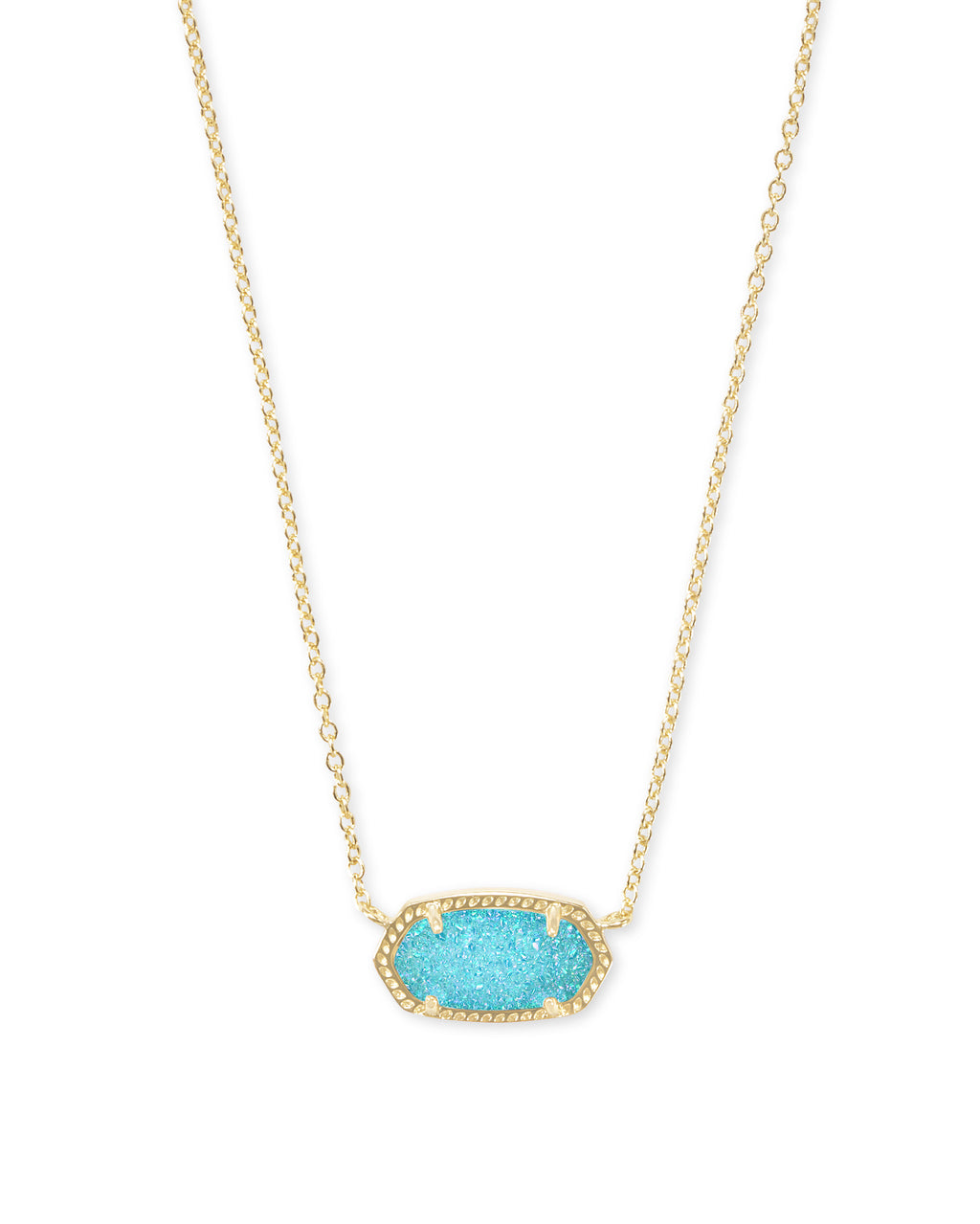 Elisa Gold Pendant Necklace In Bright Aqua Drusy by Kendra Scott