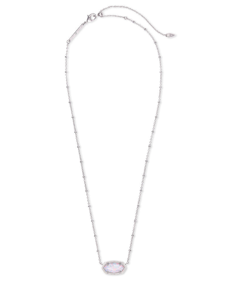 Elisa Satellite Silver Short Pendant Necklace In White Kyocera Opal by Kendra Scott