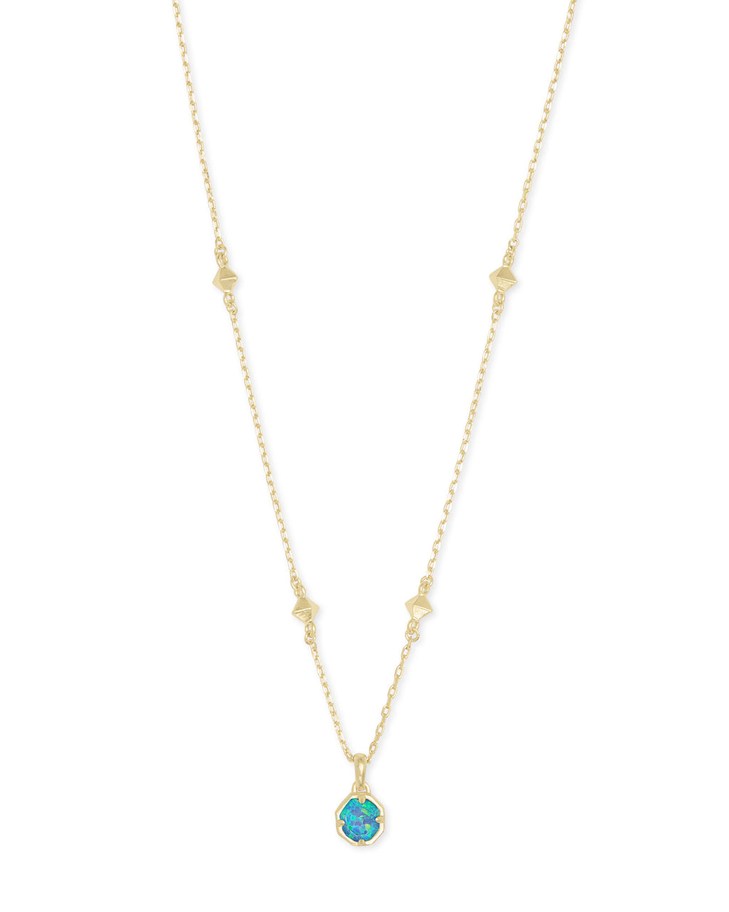 Nola Gold Pendant Necklace In Turquoise Kyocera Opal Illusion