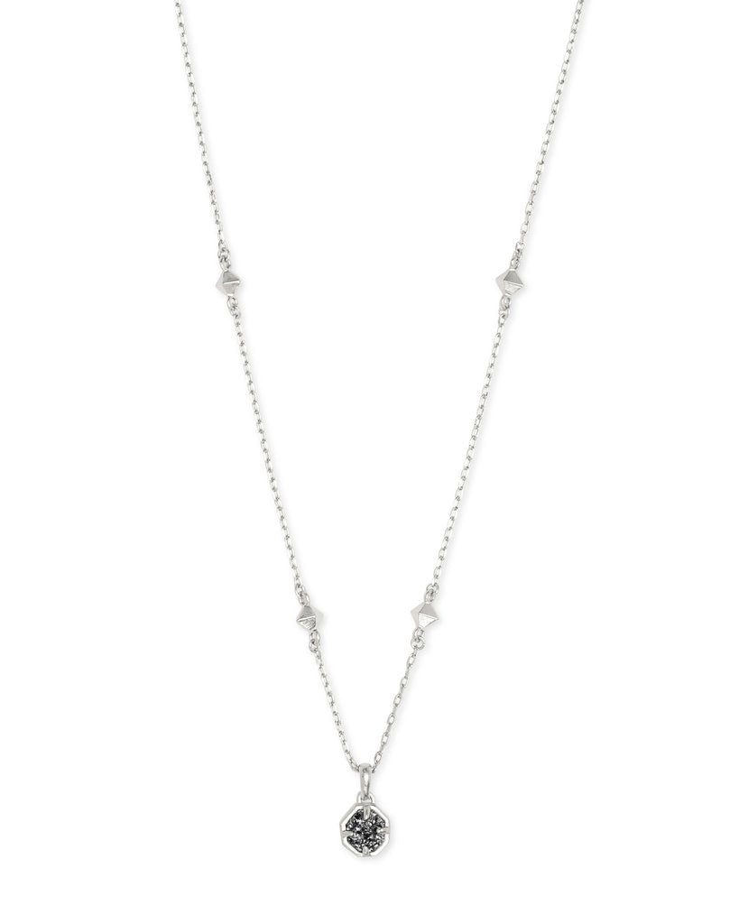Nola Silver Pendant Necklace In Platinum Drusy