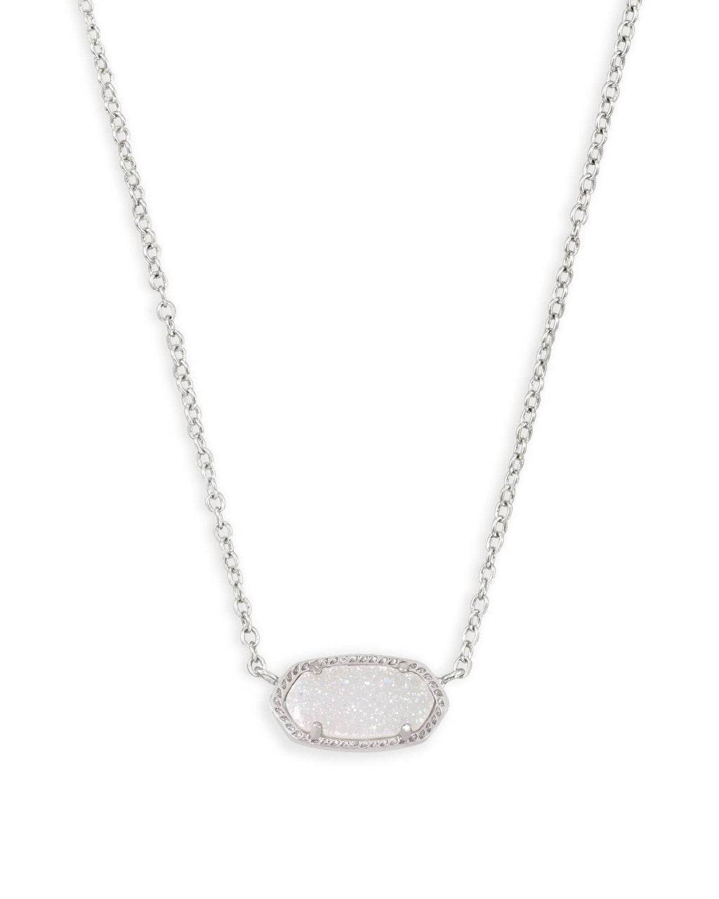Elisa Silver Pendant Necklace In Iridescent Drusy by Kendra Scott