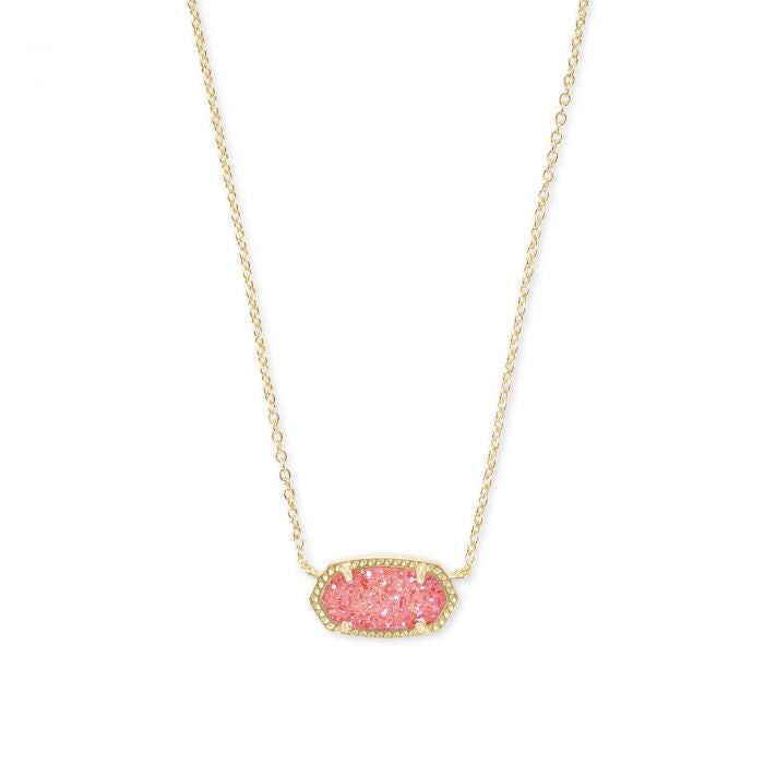 Elisa Gold Pendant Necklace In Coral Drusy by Kendra Scott