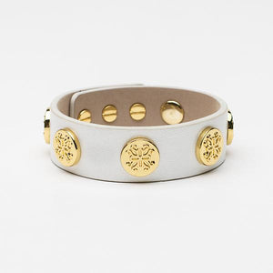 Rustic Cuff - Meagen Wide Metallic Wrap White with Gold