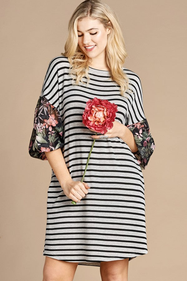 Striped Dress with Printed Bishop Sleeves
