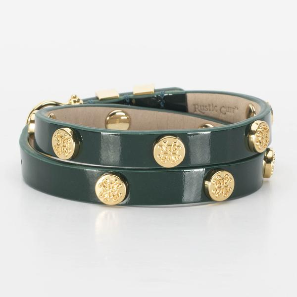 Rustic Cuff - Macy Patent Emerald Green with Gold