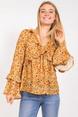 Mustard Floral Top with Ruffle Details
