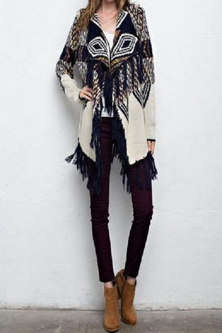 PATTERN FRINGE SWEATER CARDIGAN