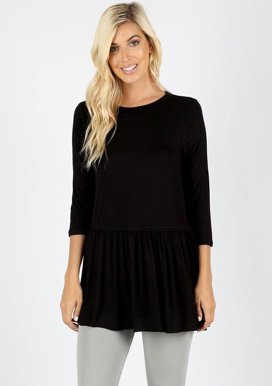 3/4 SLEEVE RUFFLE BOTTOM TOP