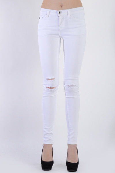 WHITE DISTRESSED SKINNY JEANS