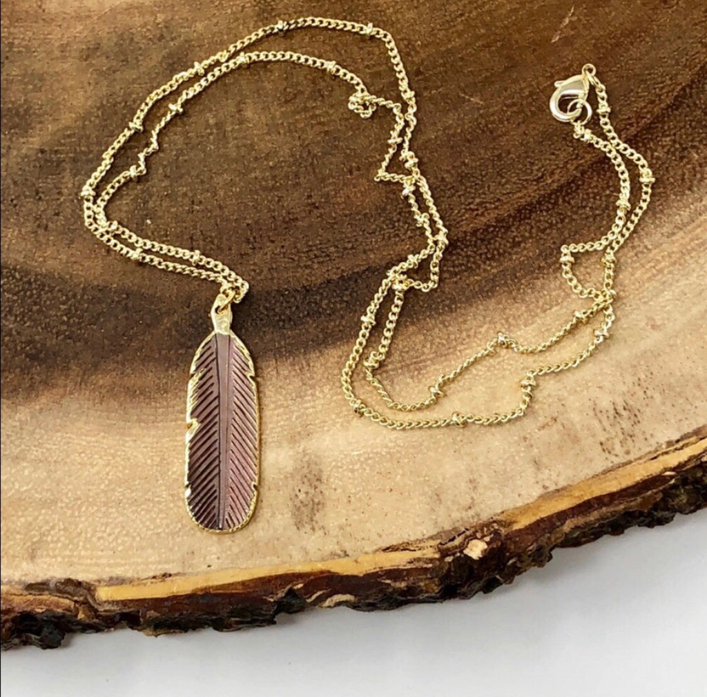 BROWN BOHO FEATHER NECKLACE