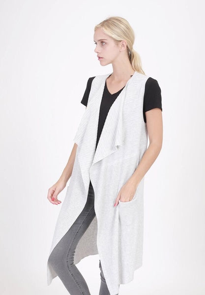 HEATHER GREY CARDIGAN VEST