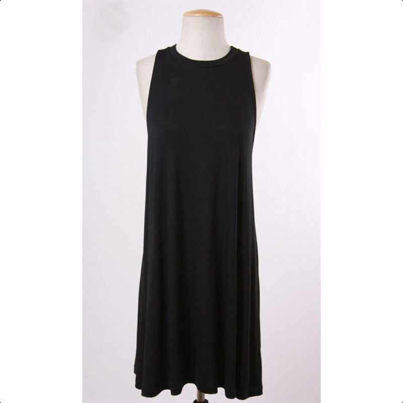 PREMIER BLACK SLEEVELESS SWING DRESS