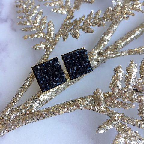 BLACK FAUX DRUZY EARRINGS