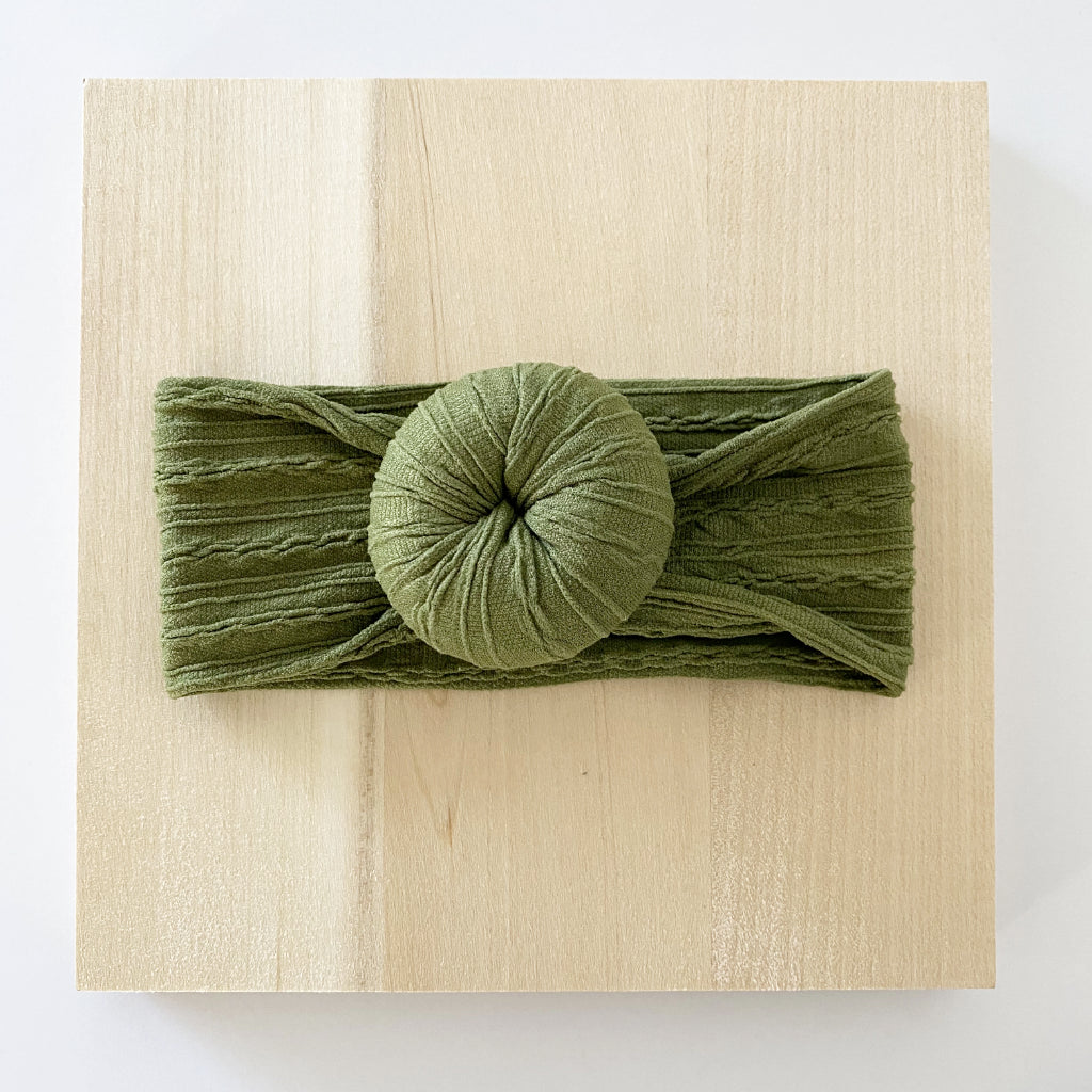 Olive Green Bun Headband