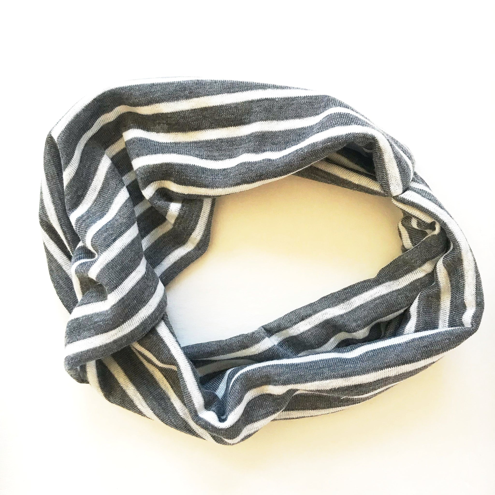 Heather Grey + White Stripe Double Twist Headband