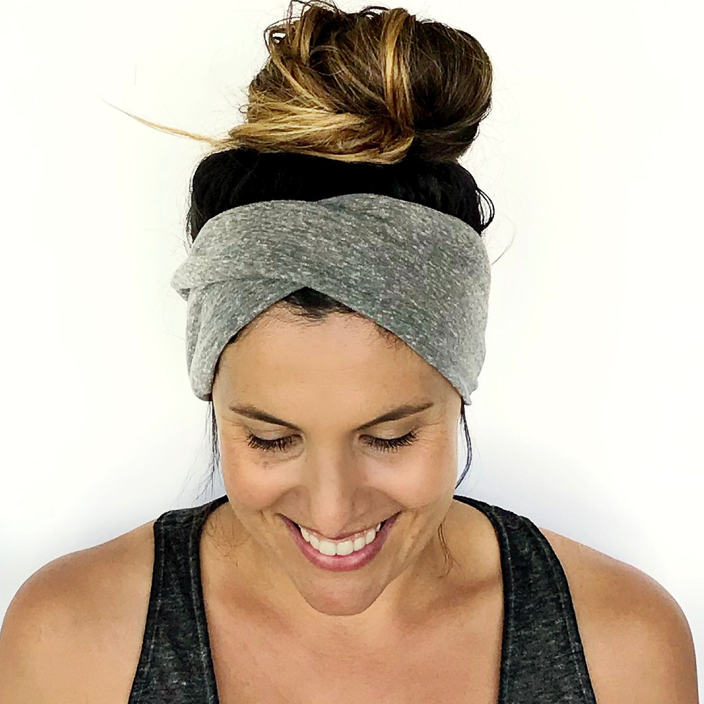 Grey Double Twist Headband