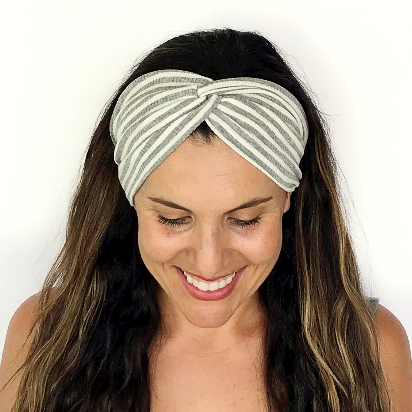 Grey + White Stripe Twisty Turban Headband
