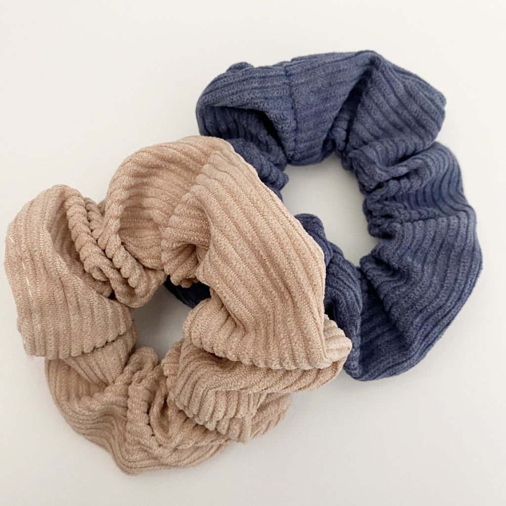 Camel + Dusty Blue Corduroy Scrunchie Duo