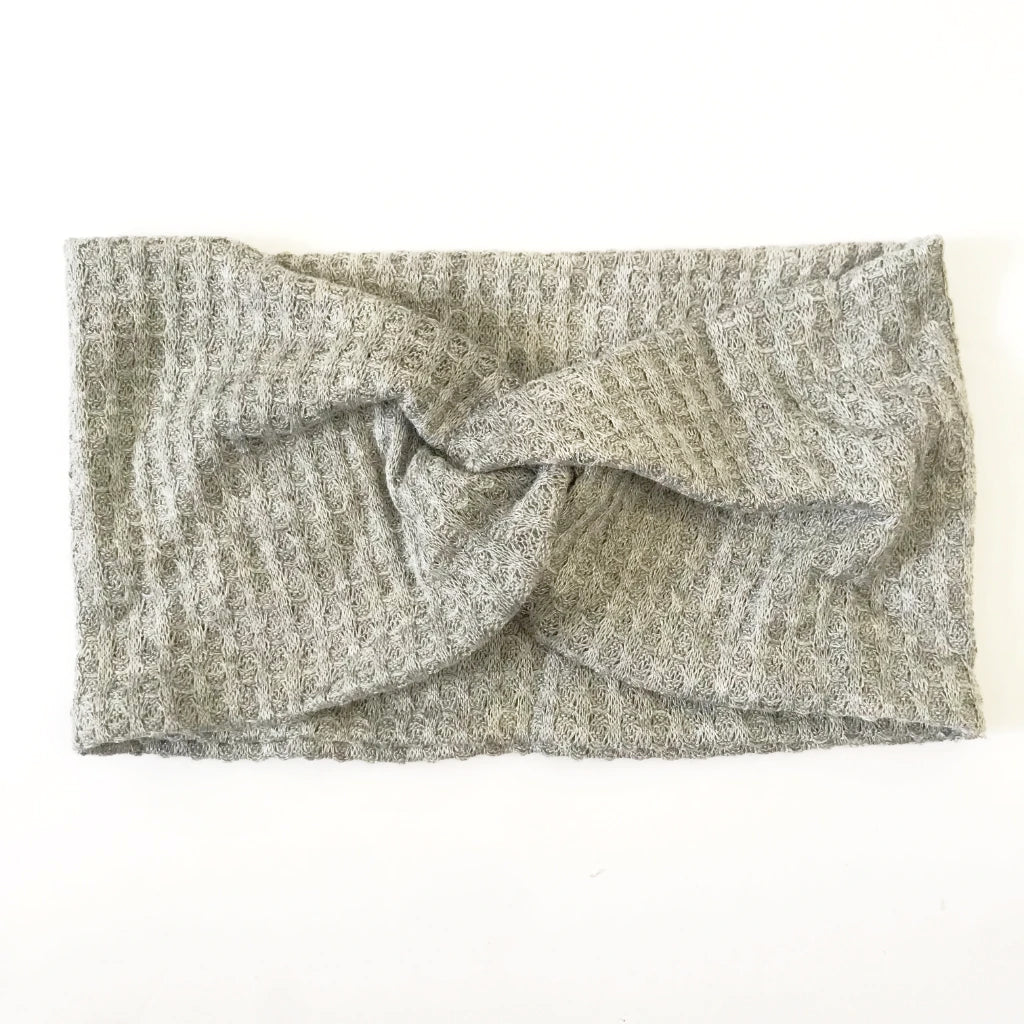 Grey Waffle Twisty Turban Headband