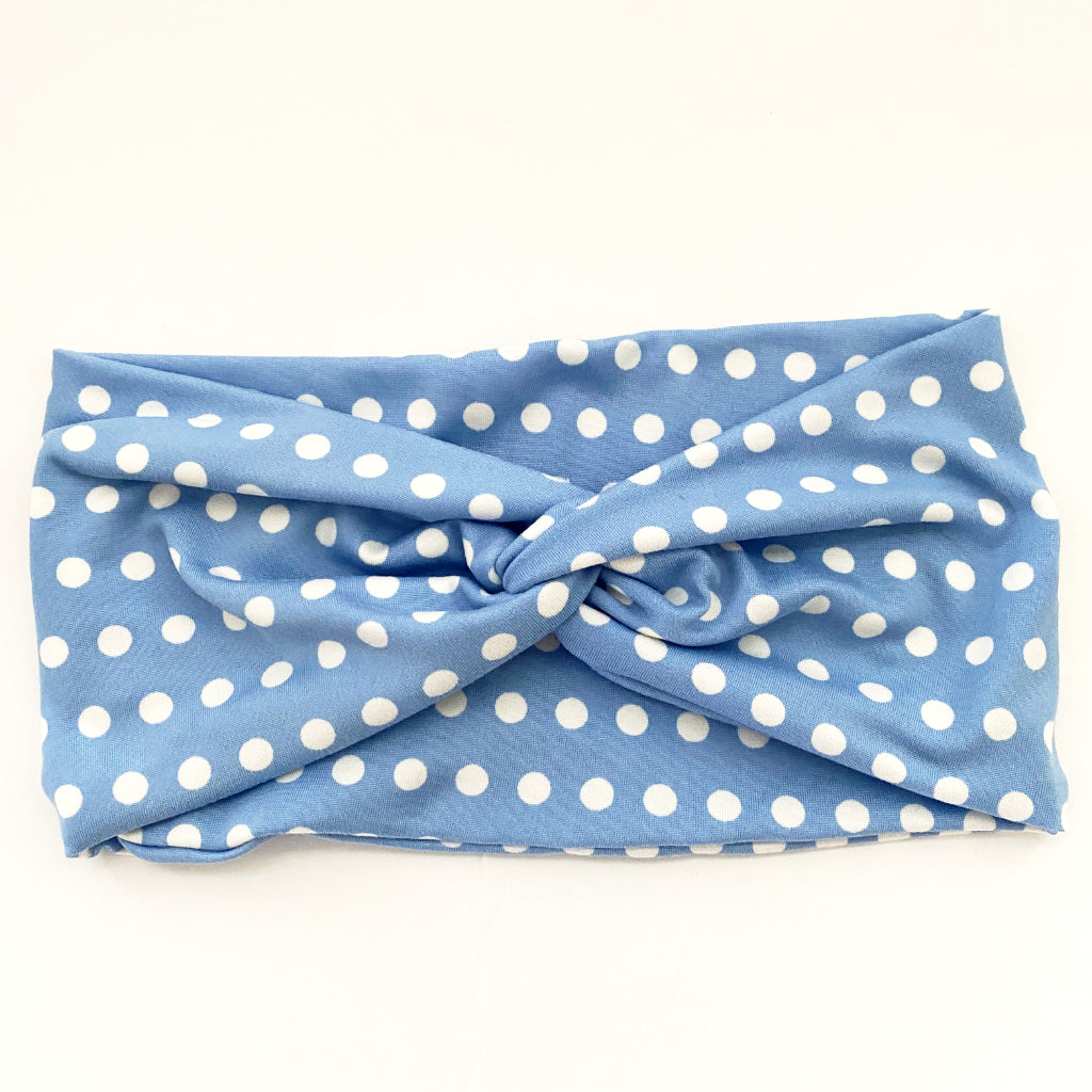 Dotty Blue Twisty Turban Headband