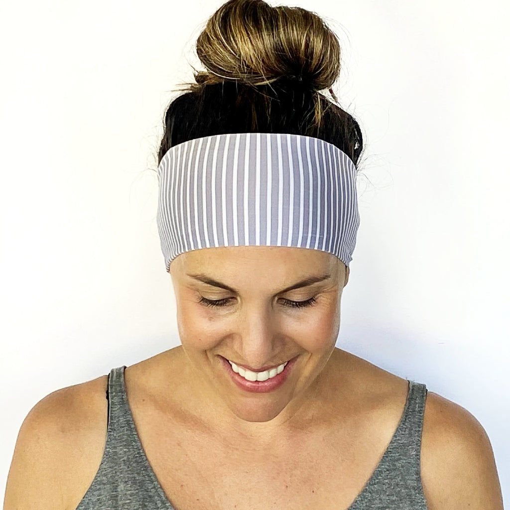 Grey + White Workout Headband