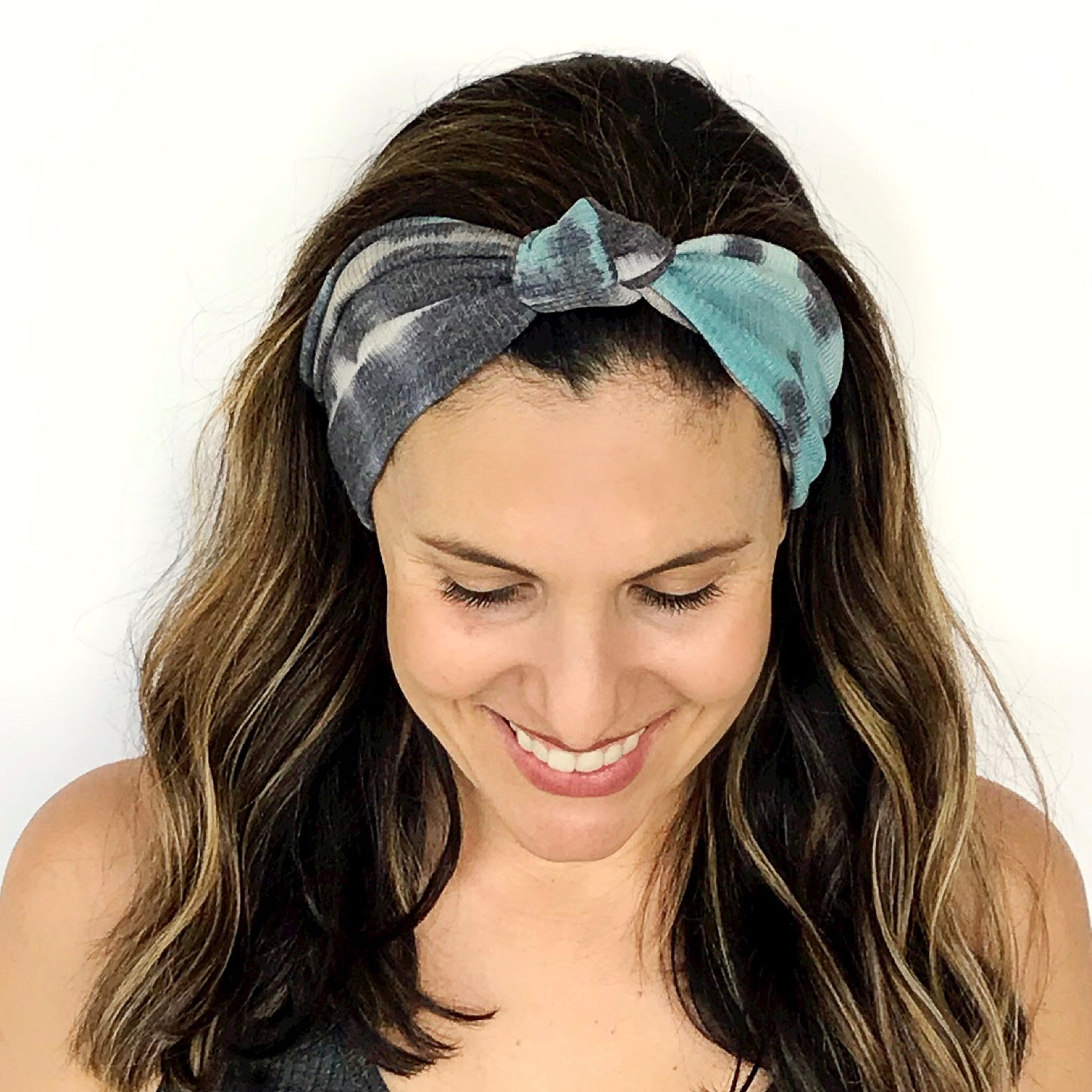 Tie Dye Blues Ribbed Knotted Headband