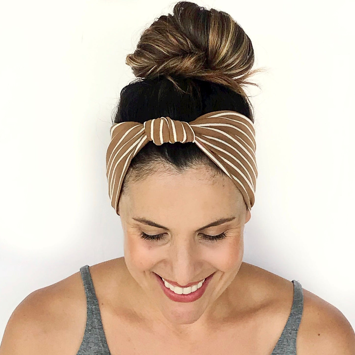 Camel + White Stripe Knotted Headband