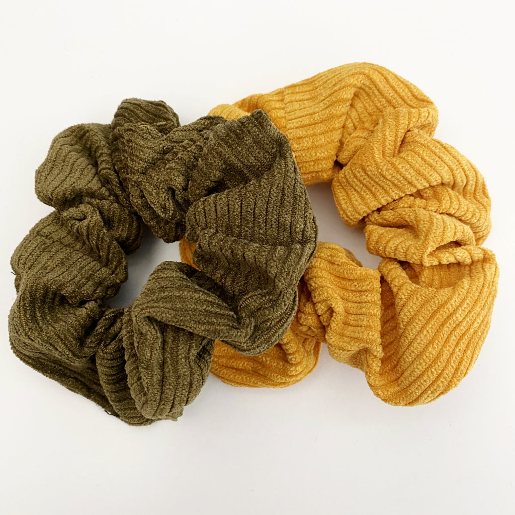 Army Green + Mustard Corduroy Scrunchie Duo