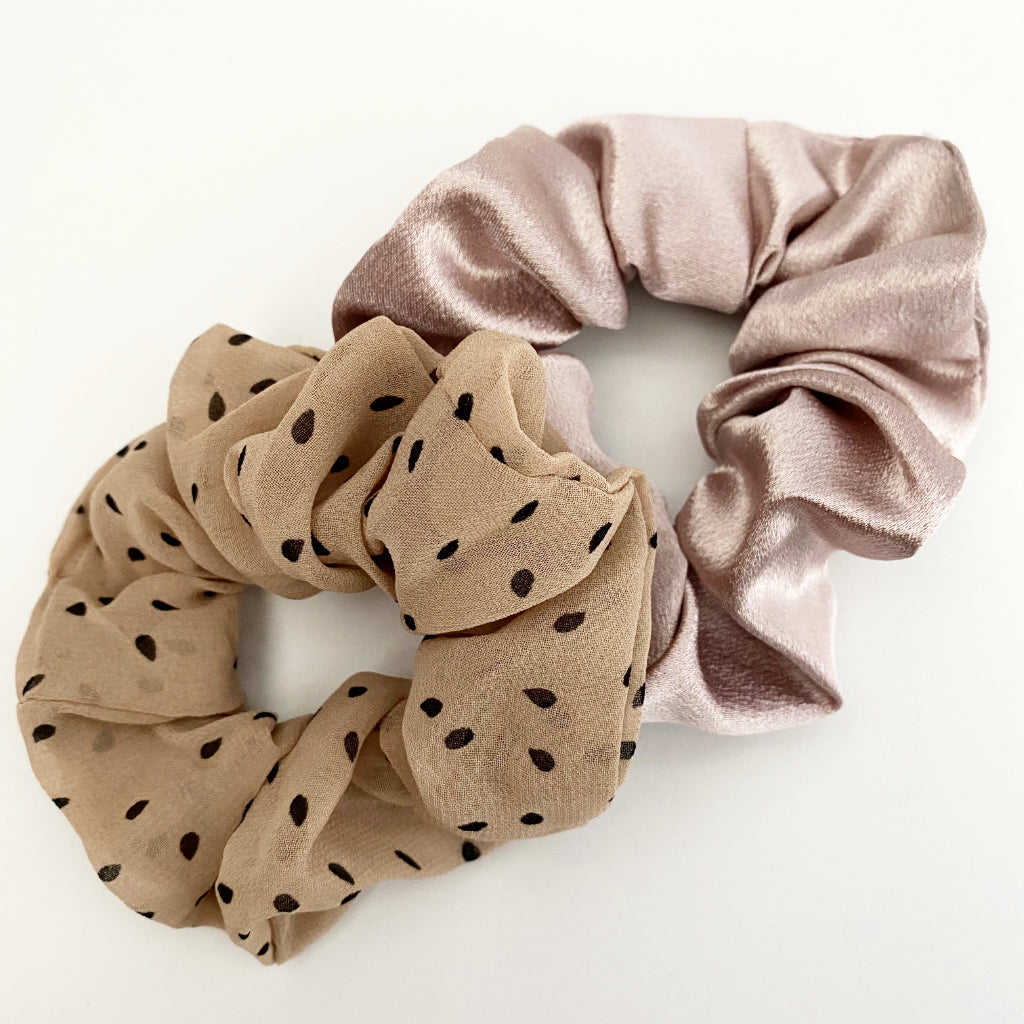 Blush Satin + Polka Dot Scrunchie Duo