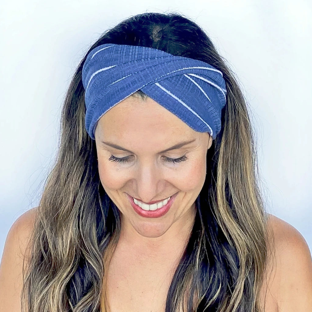 Denim + White Ribbed Twist Headband