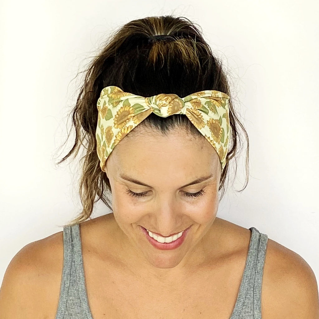 Boho Sunflower Knotted Headband