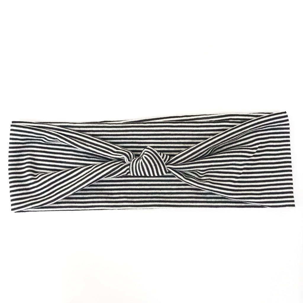 Black + White Stripe Knotted Headband