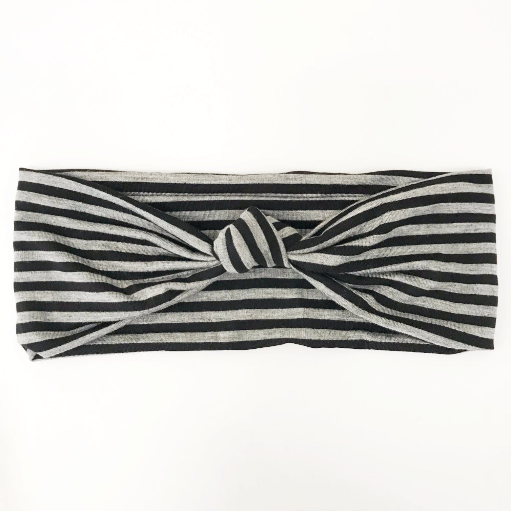 Black + Grey Stripe Knotted Headband