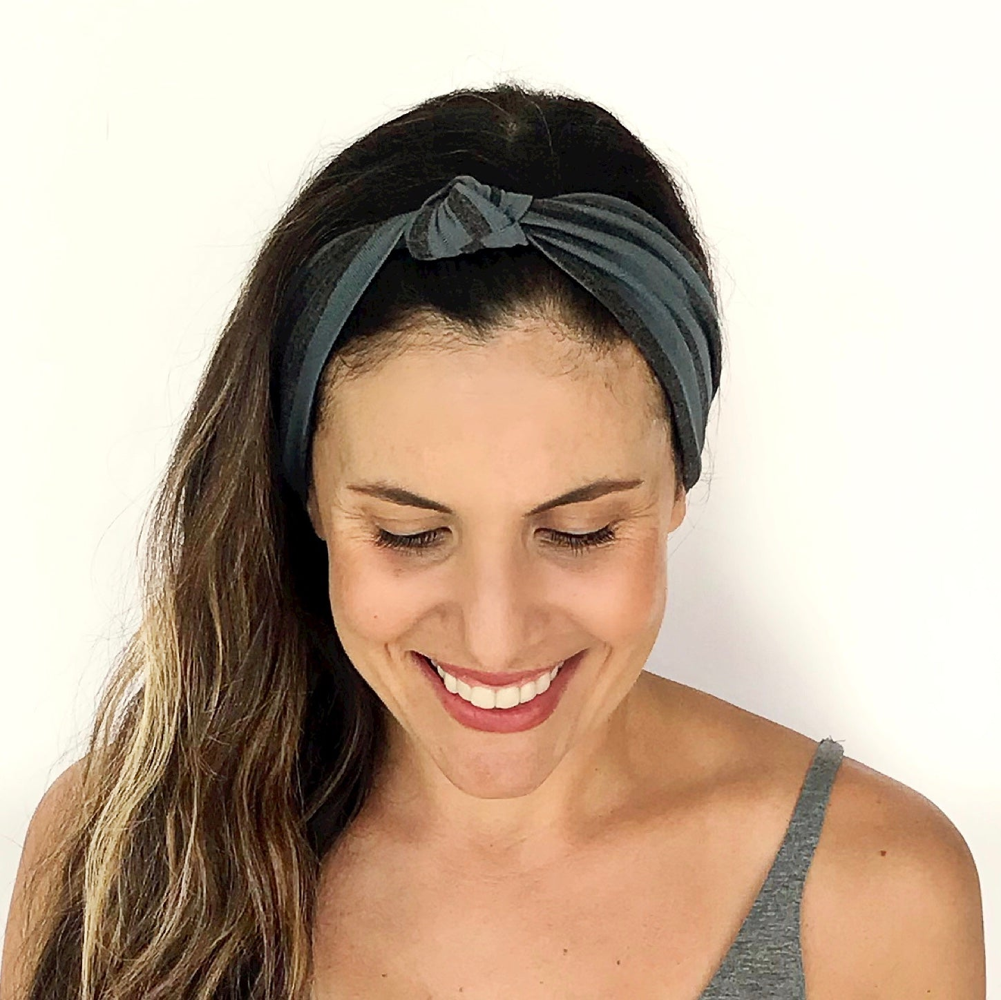 Blue + Grey Stripe Knotted Headband