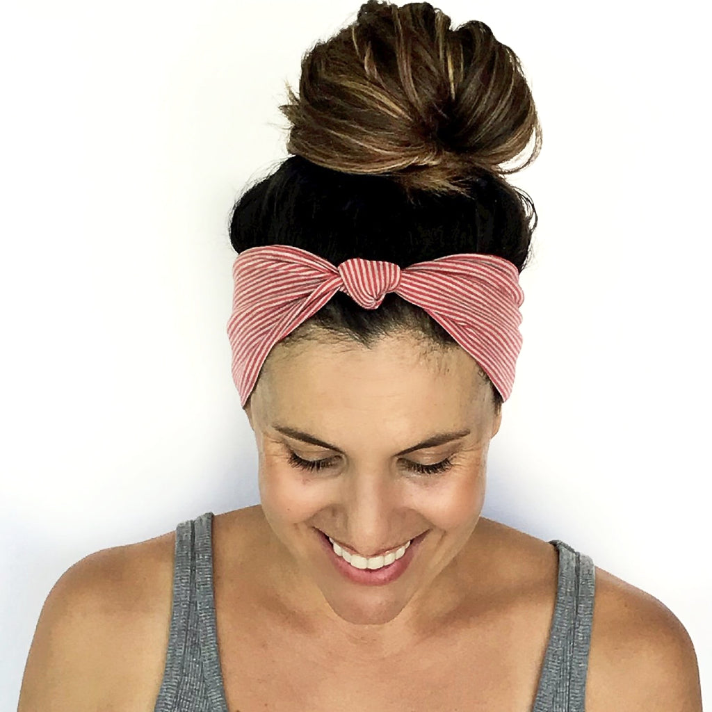 Pink + Grey Stripe Knotted Headband