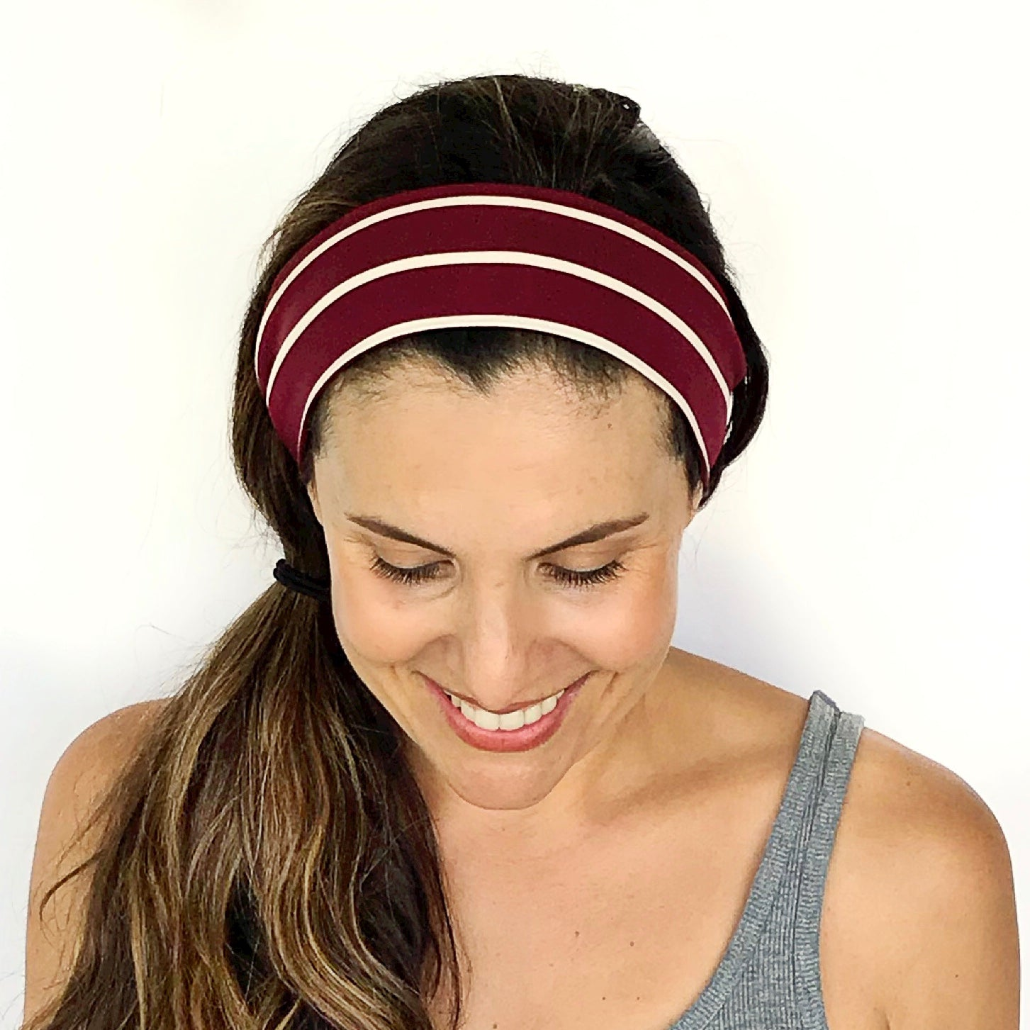 Burgundy Stripe Stripe Lounge Around Headband