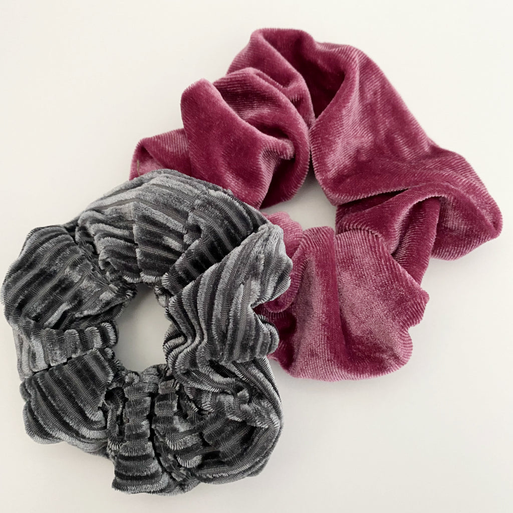 Grey and Blush Velvet Scrunchie Duo
