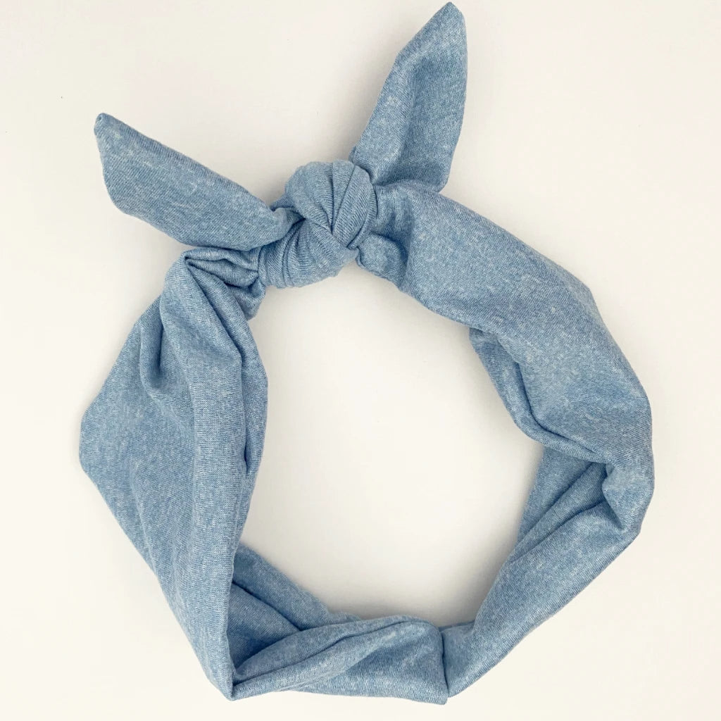 Denim Blue Tie Headband