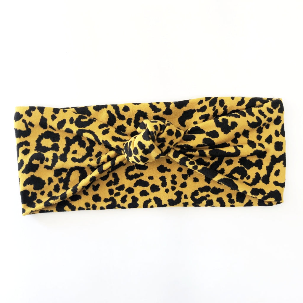 Golden Cheetah Knotted Headband