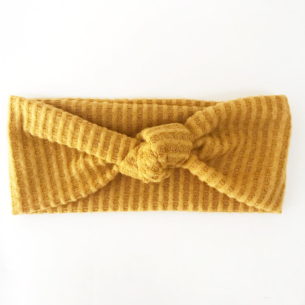 Golden Yellow Waffle Knotted Headband