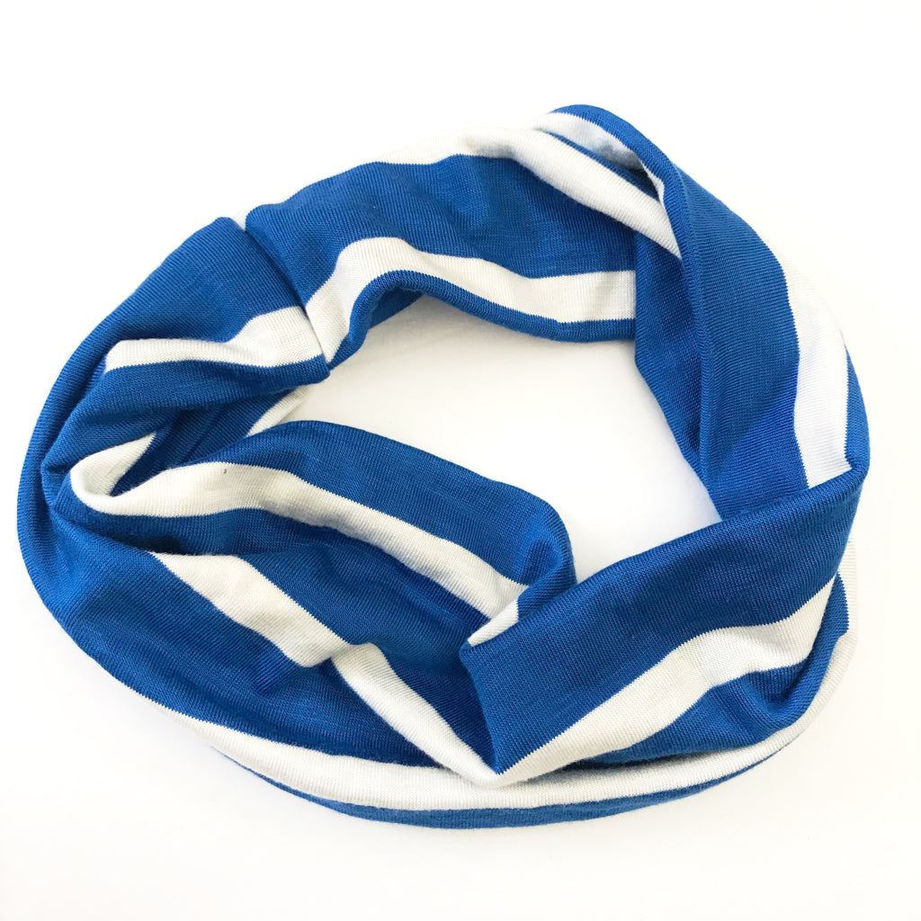 Bold Blue Stripe Double Twist Headband
