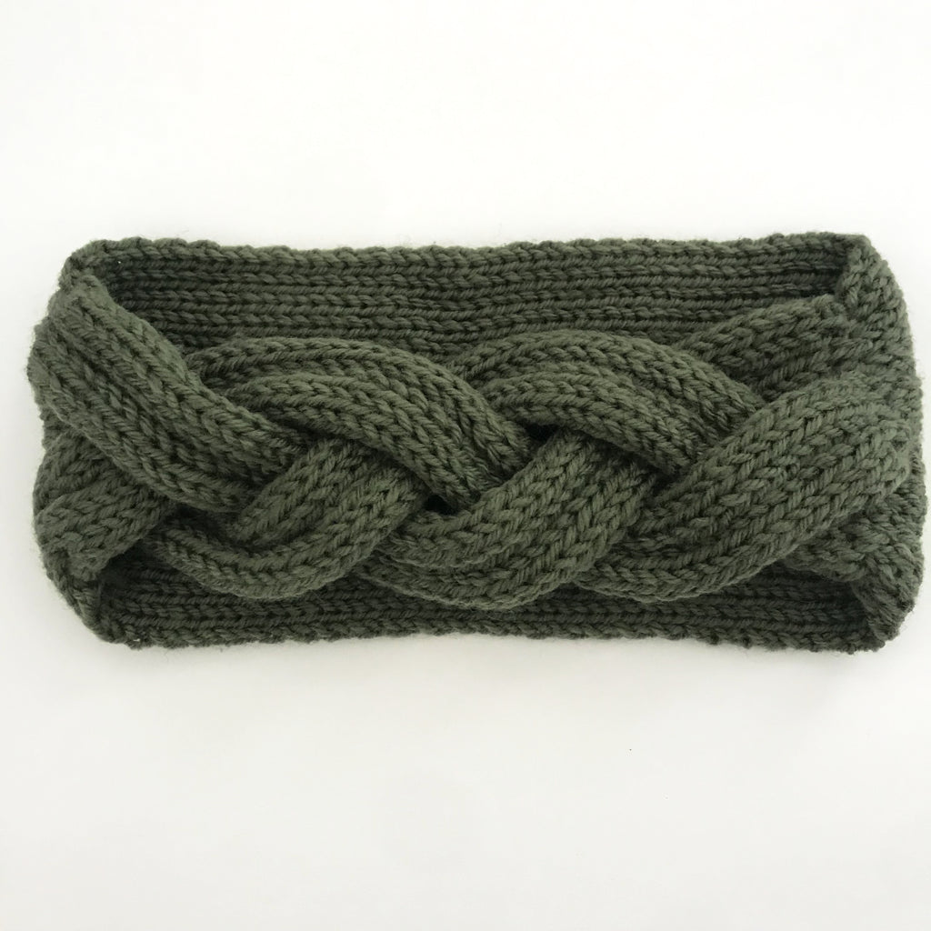 Green Braided Knitted Headband