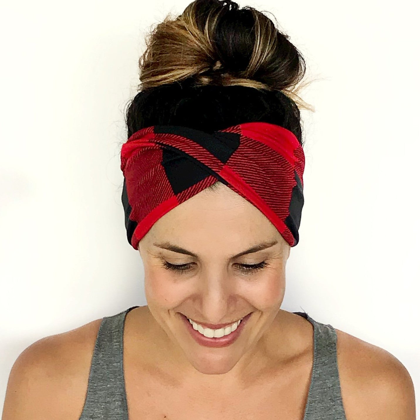 Buffalo Plaid Double Twist Headband