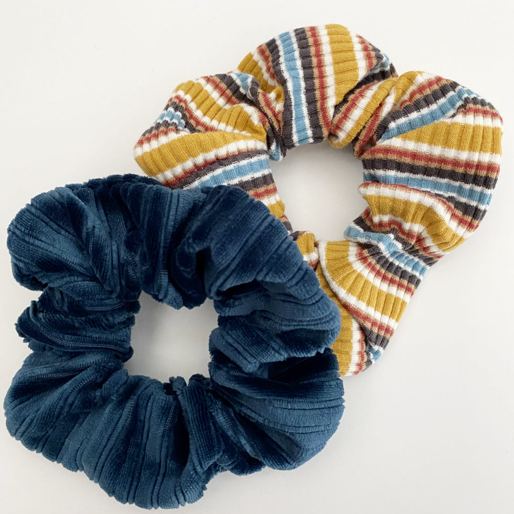Knit Stripe + Velvet Blue Scrunchie Duo