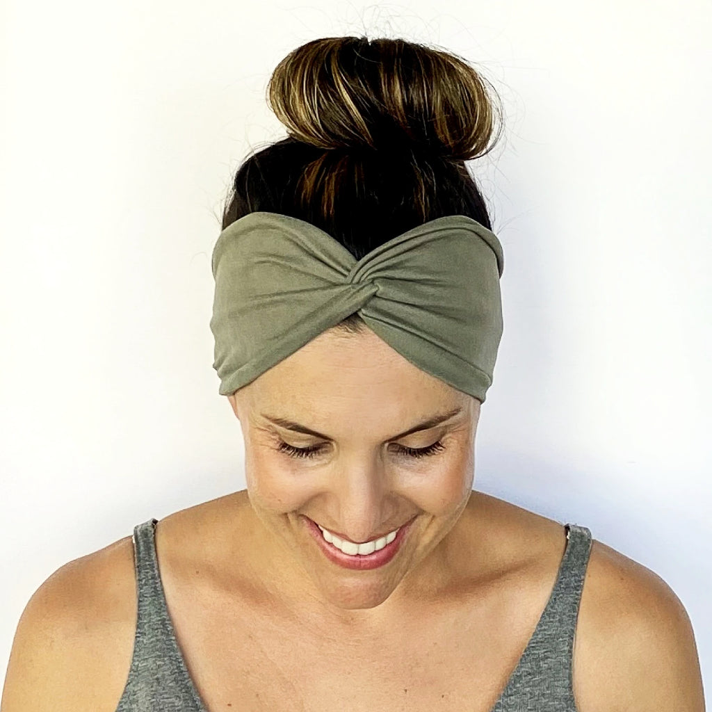 Olive Twisty Turban Headband