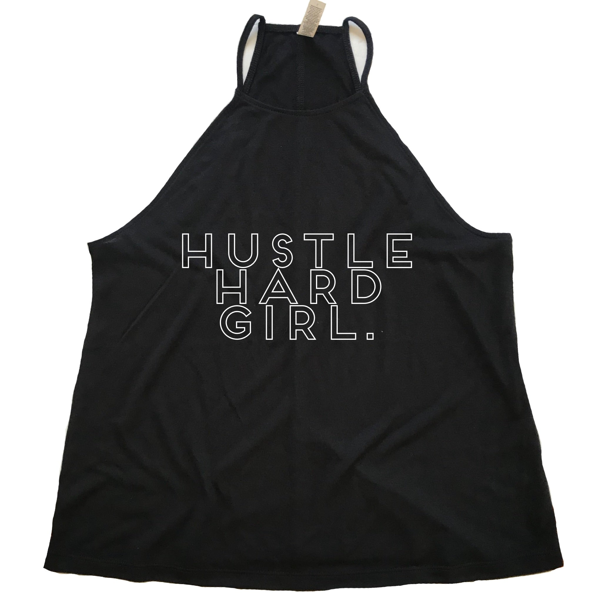 Hustle Hard Girl High Neck Tank (Black)