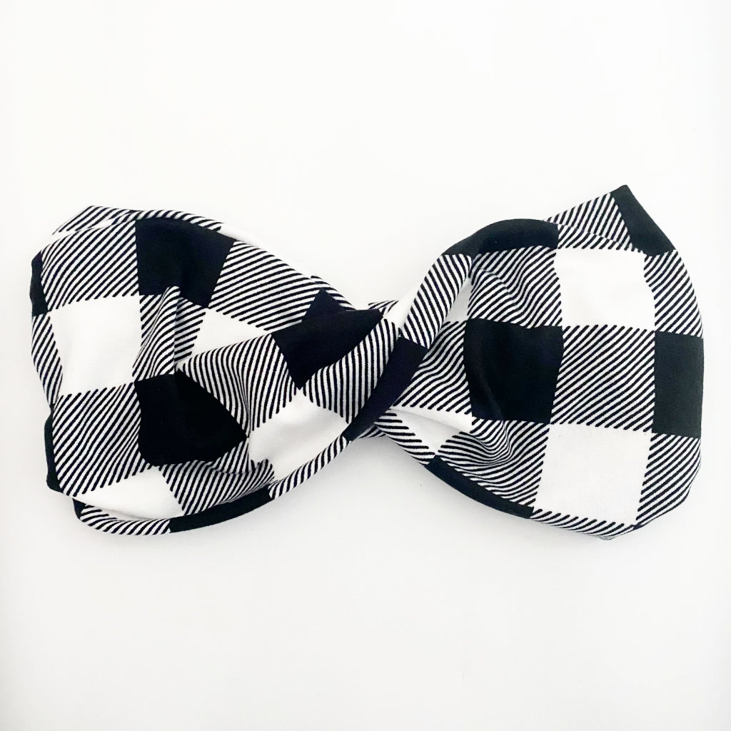 White Buffalo Plaid Twist Headband